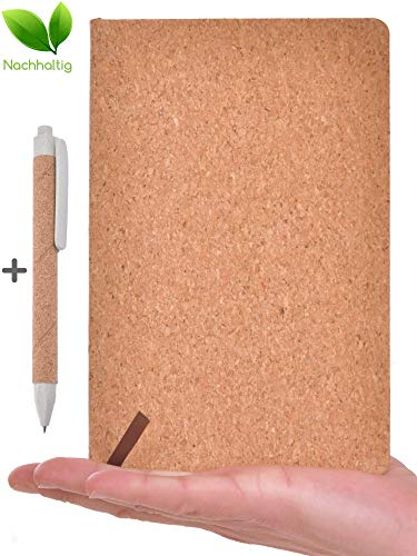 beneyu ® Umweltfreundliches Notizbuch A5 blanko aus echtem Natur-Kork - 80 Blatt - für Bullet Journal oder Tagebuch + Stift