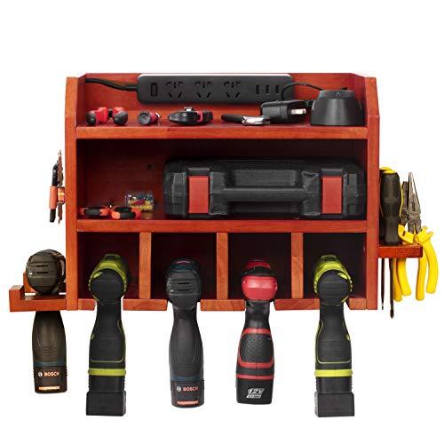 simesove Power Tools Storage, Power Tool Charging Station,5 Drill Hanging Slots, Wall Mount Tools Garage Storage, Screwdriver Cordless Drill Organizer Wooden