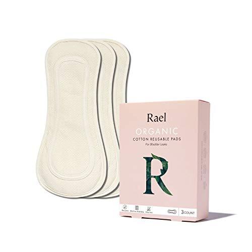 Rael Organic Reusable Bladder Pads - Thin Cloth Pads, Leak Free, Washing Machine Safe,Incontinence Pads, Set of 3 (Regular, Natural)