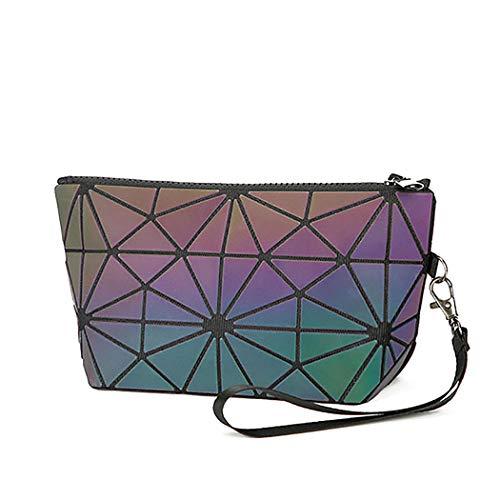 Edary Make-up-Tasche Laser Geometrisch Reise Kosmetik bedruckt Kosmetik Bleistifttasche Geldbörse faltbar wasserdichte Tasche für Frauen und Mädchen