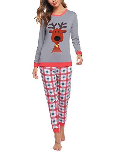 Aibrou Damen Pyjama Schlafanzug Lang Zweiteilige Nachtwäsche Hausanzug Sleepwear aus Baumwolle Langarm Rundhalsausschnitt mit Karierte Hose Grau+Rot XL