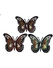 khevga Decoratieve vlinder set van 3 - wanddecoratie metaal
