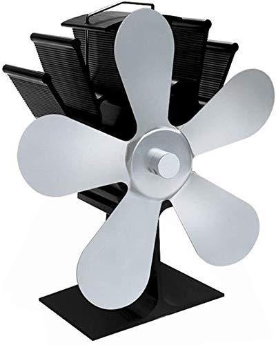 NAYY Holzofen Fan Hitze Powered Fan-5-Blatt-Wärme Powered Herd Ventilator for Holz/Holzofen/Kamin -Schwarz, Lautlos, Eco Friendly (Color : Silver)