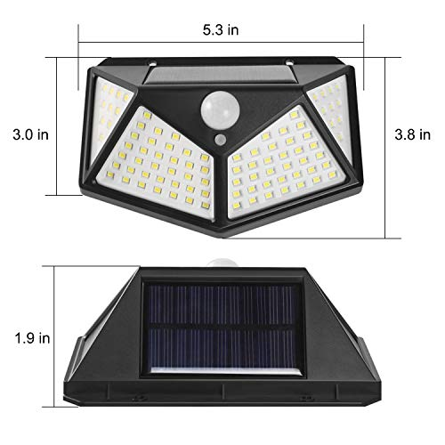 Solar Lights Outdoor, 100 LEDs, 3 Adjustment Modes, Wireless Motion Sensor Light with 270° Wide Angle, IP65 Waterproof, Motion Sensor Security Solar Power Wall lamp(4 Pack)
