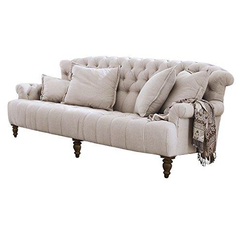 Loberon Sofa Springfield Village, Kiefernholz/Polyester/Leinen, H/B/T ca. 93/222 / 112 cm, leinen