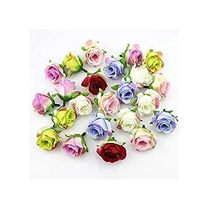 qfkj decor accessories 20pieces 3-4cm artificial silk rose flower head scrapbooking flowers ball for wedding decoration scrapbooking (color : burgundy) silk flower arrangements