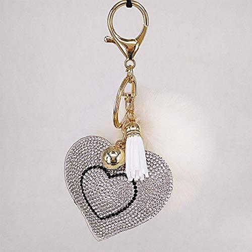 Pompón Llavero corazón de Diamantes de imitación Bolsos de Mujer Llavero Hecho a Mano llaveros Colgantes suspensión Encantadora Blanco