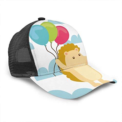 LINPM Baseball Cap Männer Frauen, Alles Gute zum Geburtstag Karte Igel halten Luftballons verstellbare Trucker Mesh Sommer belüfteten Baseball Sun Cap Hut Strandhut