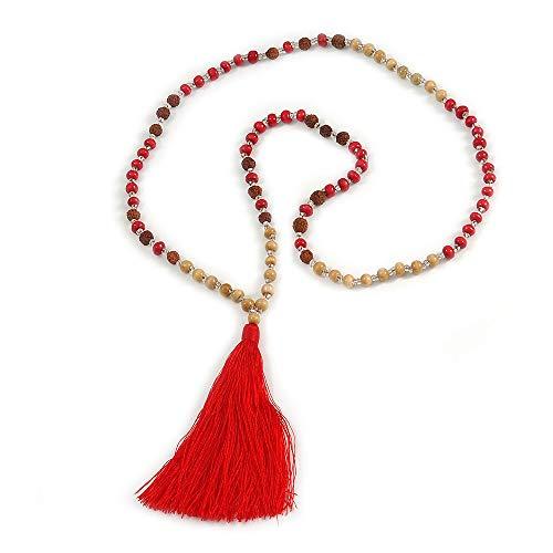 Avalaya Collar largo de madera, vidrio, cuentas de semillas con borla de seda (piel, rojo, marrón) – 80 cm de largo y 11 cm de borla