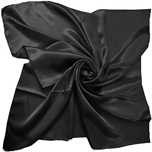 satin silk Large Square Plain Nautical Head Neck Scarf Wrap 90 cm X 90 cm (BLACK)