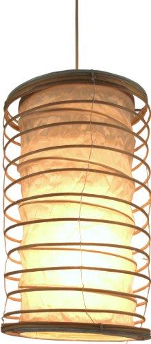 Guru-Shop Opvouwbare Lampenkap/Plafondlamp Malai 50, Handgemaakt in Bali, Katoen, De Natuur, Rattan, Kleur: De Natuur, 50x25x25 cm, Aziatische Plafondlampen Papieren Lampen Stof