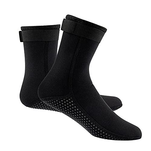 POHOVE 1 par de calcetines de neopreno de 3 mm, calcetines térmicos, calcetines de agua para playa, natación, surf, yoga, ejercicio, buceo, zapatos de agua para hombres y mujeres