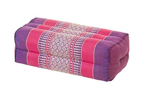 Handelsturm Cojín de almohada 35x15x10 cm, relleno de kapok, Cojín de apoyo para yoga y meditación (lila y rojo)