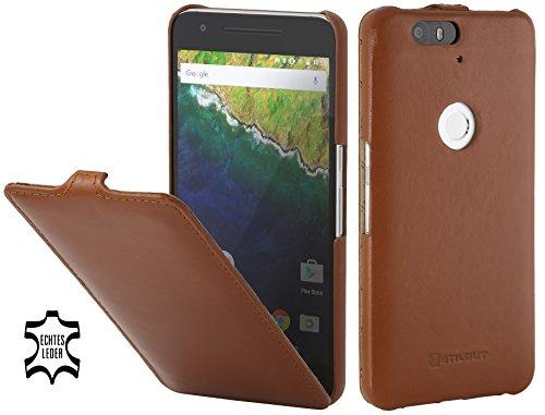 StilGut UltraSlim Hülle, Hülle aus Leder mit On-/Off-Funktion für Google Nexus 6P, Cognac