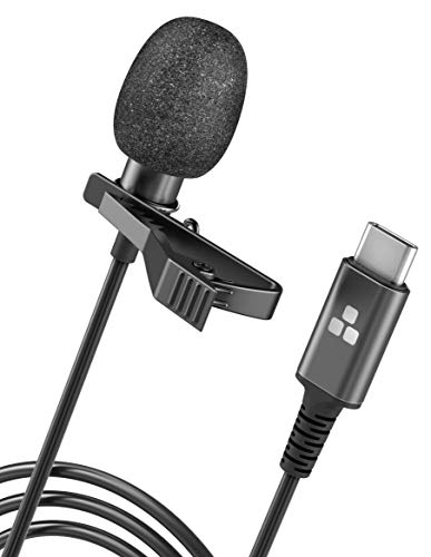 Galvanox USB-C Microphone, Clip On Lavalier Omnidirectional Mic for USB Type-C Android Devices (Phone/Video Calls/Audio Recording)