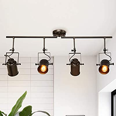 Track Lighting, Semi Flush Mount Ceiling Light, 4 Adjustable Track Lighting Heads, for Ceiling and Wall, 36.4 inches