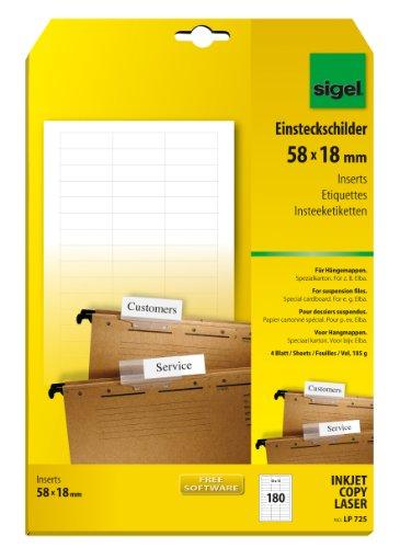 SIGEL LP725 Blankoschilder für Hängeregistratur weiß (A4, 180 Stück, 58x18 mm) für Elba