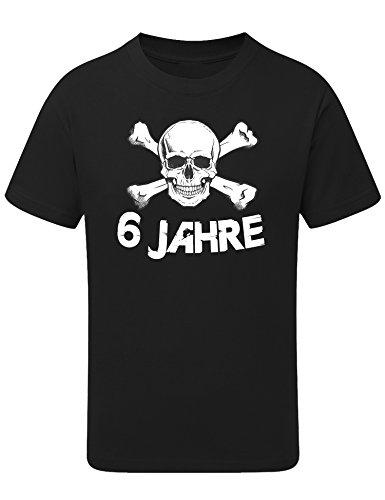 Geburtstags Shirt: Totenkopf 6 Jahre - T-Shirt für Jungen und Mädchen - Geschenk-Idee zum 6. Geburtstag - Sechs-TER Jahrgang 2014 - Pirat Piraten Hamburg - Junge - Trikot Fussball Sport (122/128)