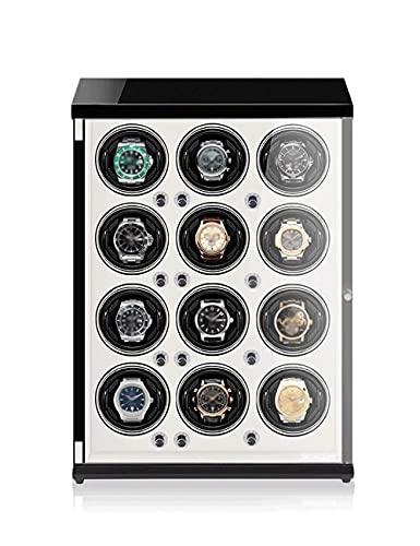 AWJ Enrollador de Reloj para 12 Relojes, Estuche de Almacenamiento con rotación de Relojes Pintura de Piano, antimagnético, Almohada retráctil, luz LED de inducción, mot