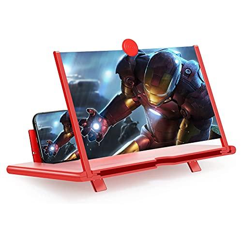 STEBRUAM 12 Zoll Handy Lupe,3D Bildschirm Vergrößerungsglas für das Ansehen von Filmvideos Faltbarer Handylupe Vergrösserung Bildschirmlupe für Smartphones(rot)
