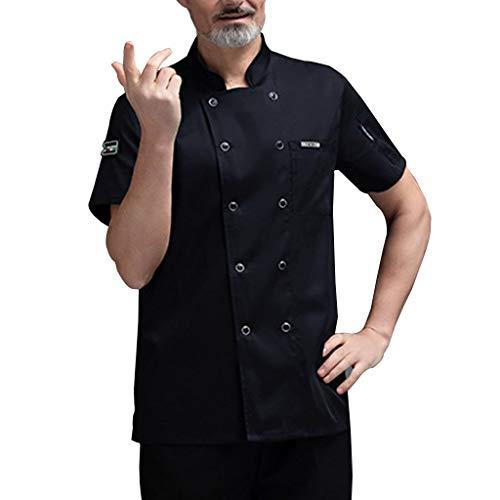 FJL Jefe Chaqueta Abrigo Uniforme Unisexo Restaurante Cocina Bermudas Mangas Ligero (Color : Black, Size : L)
