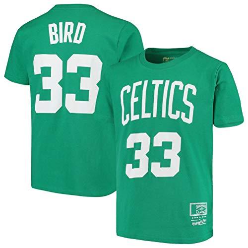 LSJ-ZZ Männer-T-Shirt Basketball Kleidung NBA Boston Celtics # 33 Larry Bird Retro-Rundhalsausschnitt jeysey, Fitness Sport Breath Top,M:165~170cm