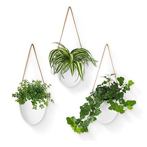 Gadgy Hängetopf Keramik Weiß   Set mit 3 Blumentöpfe   Hängeblumentöpfe für Hängende Pflanzen   Innen oder Aussen   Inklusive 3 Verschiedenen Schnüren und Aufbewahrungstasche