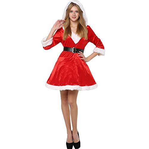 EraSpooky Mamá Noel Deluxe Mujer Disfraz De Navidad Fiesta Conjunto Rojo