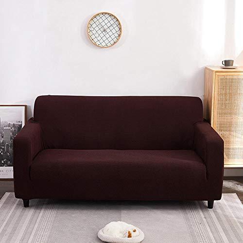 Fsogasilttlv Funda de sofá Protector,Funda de sofá elástica de Color sólido para Sala de Estar, Antideslizante, Funda elástica para sillón de sofá, marrón, 4 plazas, 235-300 cm (1 Pieza)