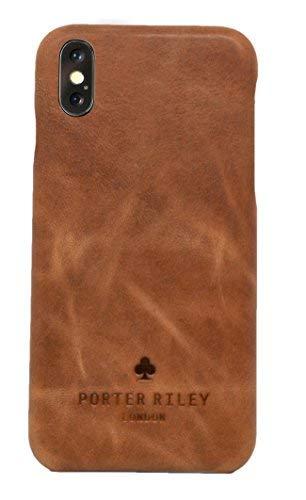 Porter Riley - Lederhülle für iPhone XS Max. Premium Ultra Dünn Echtleder Cover/Ledertasche/Backcover kompatibel mit iPhone XS Max (Hellbraun)