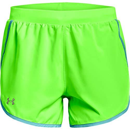 Under Armour Women's Fly By 2.0 Running Shorts , Hyper Green (389)/Reflective , Medium