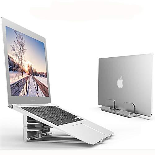 BECROWMEU Soporte vertical para portátil, soporte de escritorio 2 en 1 con base ajustable, se adapta a todos los MacBook/superficie/Samsung/HP/Dell/Chrome Book (hasta 17.3 pulgadas)/iPhone Smartphones