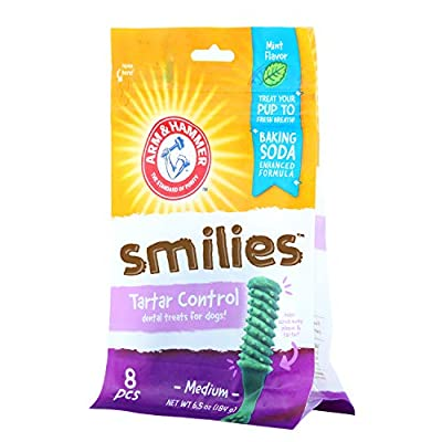 Arm & Hammer Smilies Dental Treats for Dogs | Dental Chews Fight Bad Breath, Plaque & Tartar Without Brushing | Available in Multiple Flavors and Sizes for Medium Size Adult Dogs