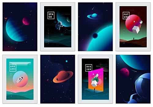 the lazy panda card company Weltraum Poster Set - 8 x A4 Abstrakte Universum Poster kleine und große Astronauten (Vintage Weltraum Poster Set)