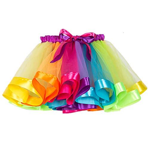 ECYC Mädchen Bunte Layered Regenbogen Tutu Rock Outfits Ballett Tanz Party Kleid, 13 Jahre
