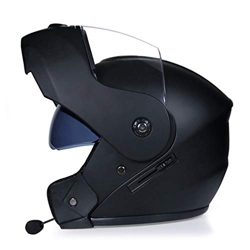 ABDOMINAL WHEEL Bluetooth Integrado Casco de Moto Modular con Doble Visera Cascos de Motocicleta a Prueba de Viento ECE Homologado para Adultos Hombres Mujeres