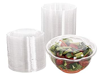 Smygoods Plastic Salad Bowls with lids 32 oz [50 Sets] Disposable Salad Bowls With Airtight Lids,