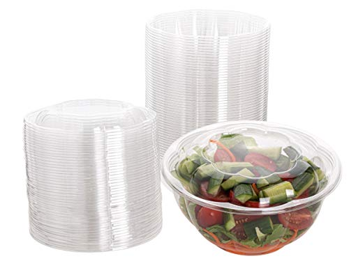 Smygoods Plastic Salad Bowls with lids 32 oz. [50 Sets] Disposable Salad Bowls With Airtight Lids,