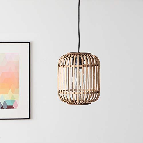 Lightbox - Lámpara colgante de ratán auténtico, portalámparas E27 para máx. bombilla de 40 W, moderna lámpara colgante de metal y ratán, color marrón claro y negro