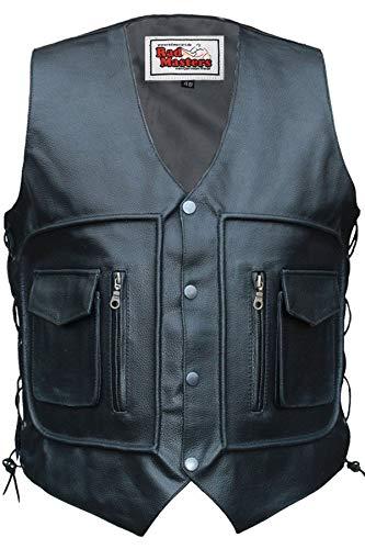 Chaleco German Wear de piel para moto, negro