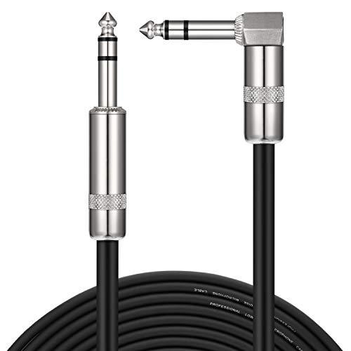Donner TRS Stereo Audio-Balance-Linie Gitarrenkabel von Premium-Qualität, Audio Kabel für die E-Gitarre, Elektro-Akustikgitarre, Bassgitarre & Keyboard, Gerade bis Rechtwinklige 20 Fuß(6m)