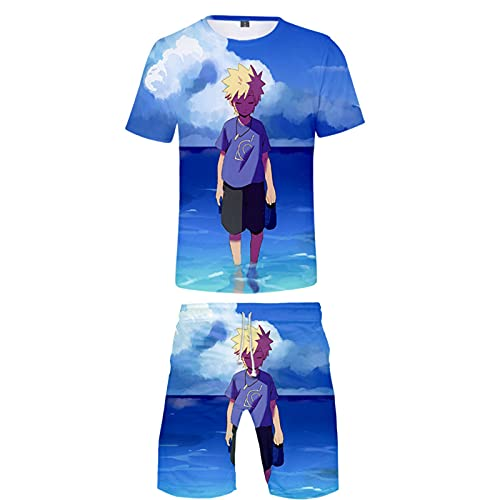 ZOSUO T-Shirt Set Summer NARUTO Shorts And Short Sleeve 2-Piece Set Top Suit Anime Cosplay Uzumaki Naruto Youth Sport Mens Suit,Blue,XL