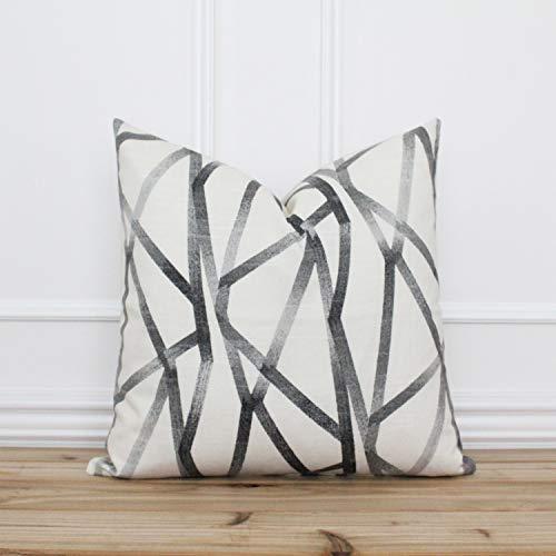 Federa per cuscino con motivo geometrico, stile moderno, con linea nera, realizzata a mano, colore: nero