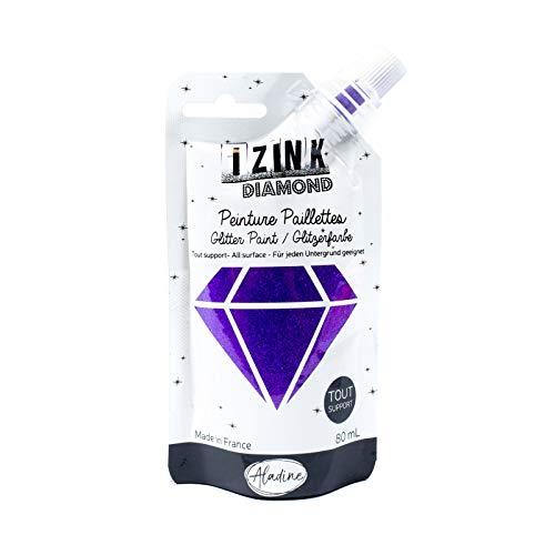 Aladine - Izink Diamond - Peinture Pailletée - Ultra Concentrée en Paillettes - Décoration Tout Support - DIY et Loisirs Créatifs - Made in France - Gourde Souple 80 ml - Violet