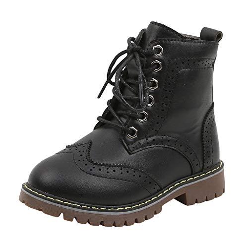 Brillanto Botas Niños Invierno Piel Botines de Niña con Cordones Botas Cálidas Botines Niñas Nueva Temporada Zapatos Tallas 26-36