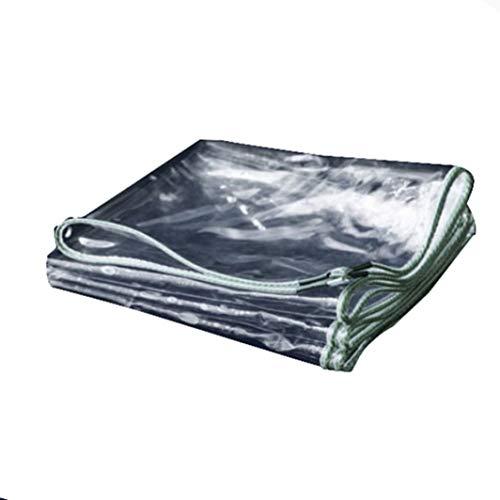 JHNEA Lona de protección Transparente, PVC Impermeable 15 Mil con Ojetes Lonas Gran Capacidad Prueba de Lluvia,Clear_1.8x4.5m/5.4x13.5ft