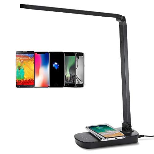 Lampada da Scrivania LED Aigostar Owen, Lampada da Tavolo con Ricarica Wireless QI per Smartphone. 3 Livelli Dimmerabili, 3 Modalità Graduali di Colore, Touch Control, Luce Gradevole per Occhi, 5W