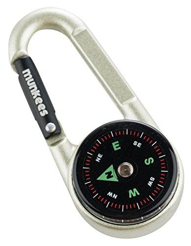 munkees Kompass-Karabiner Gadget mit Thermometer, Schlüsselanhänger, Funktions-Karabiner, Aluminium, 3135