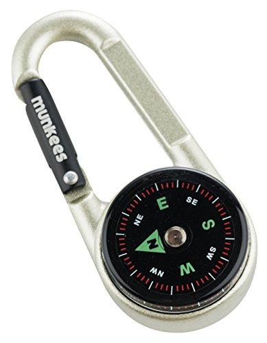 munkees Kompass-Karabiner mit Thermometer, Schlüsselanhänger, Funktions-Karabiner, Aluminium, 3135