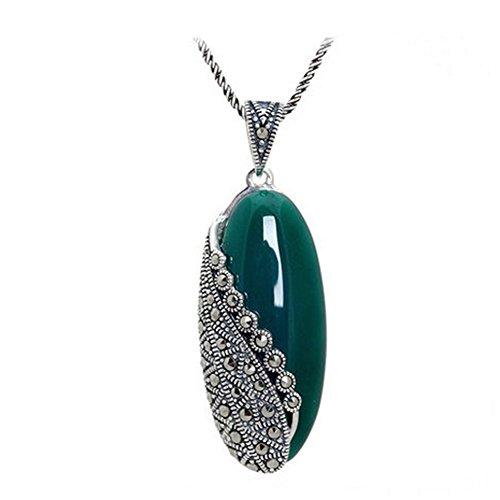 Jade Angel Sterling Silber Kette Vintage Markasit Grün Onyx Anhänger Halskette